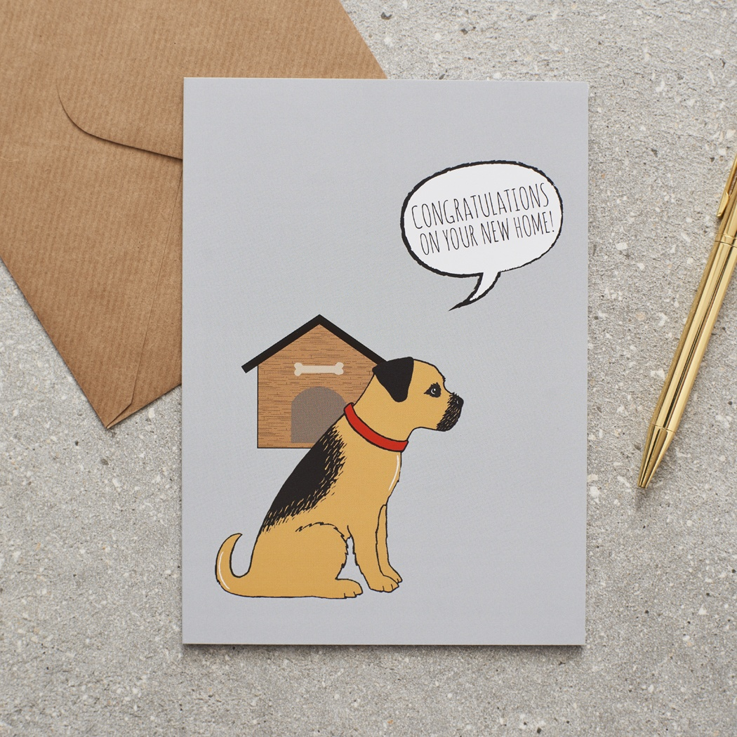 Border Terrier New Home Card , Mischievous Mutts > Greeting Cards , Border Terrier