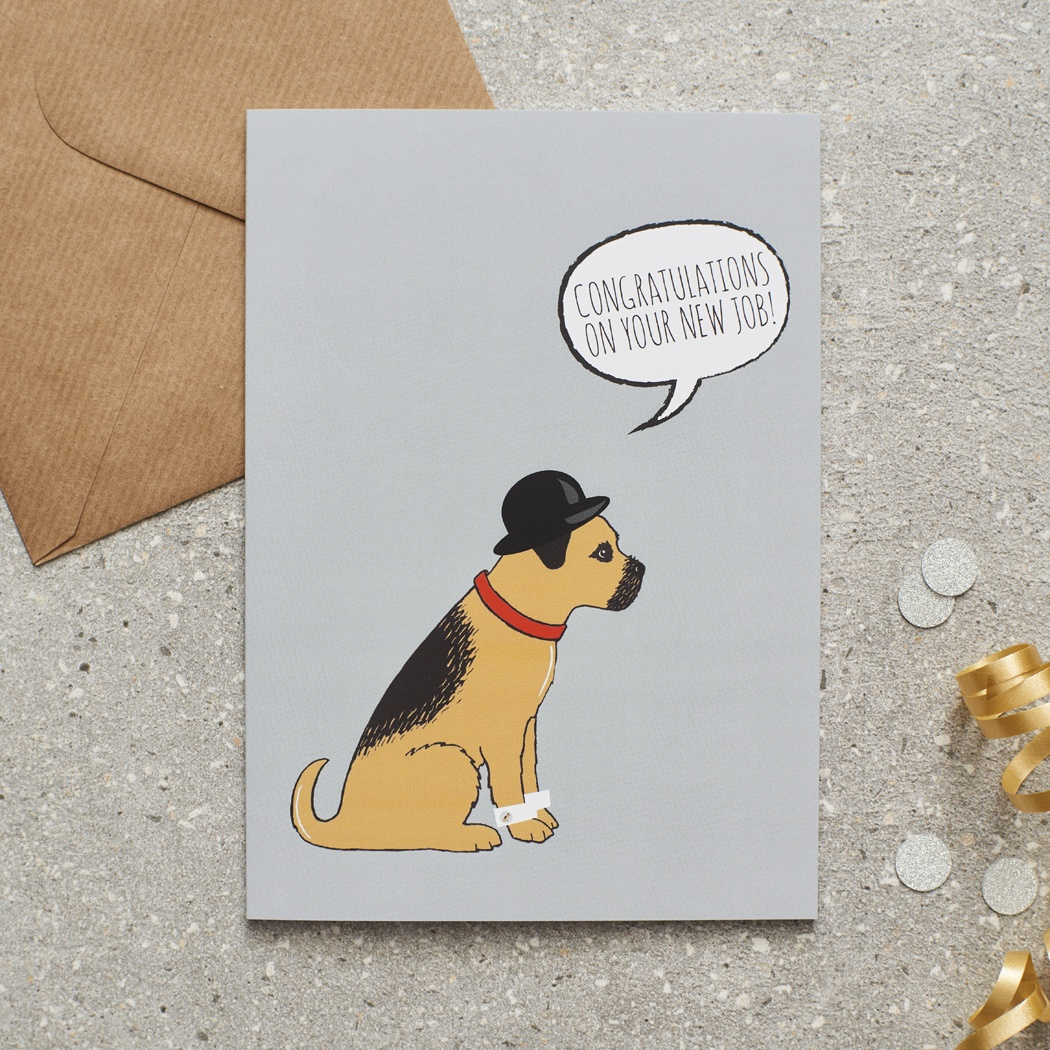 Border Terrier congratulations on new job card , Mischievous Mutts > Greeting Cards , Border Terrier