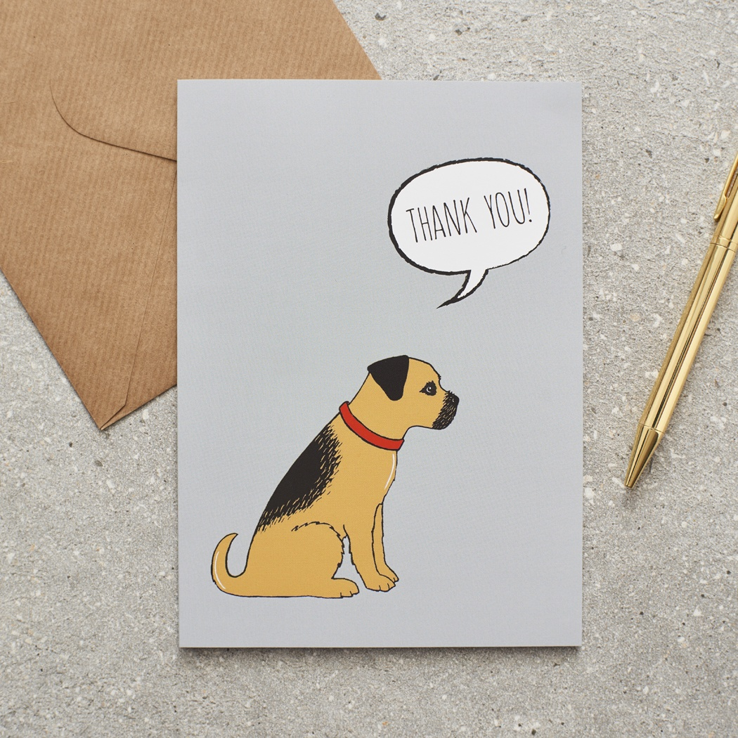 Border Terrier Thank You Card , Mischievous Mutts > Greeting Cards , Border Terrier