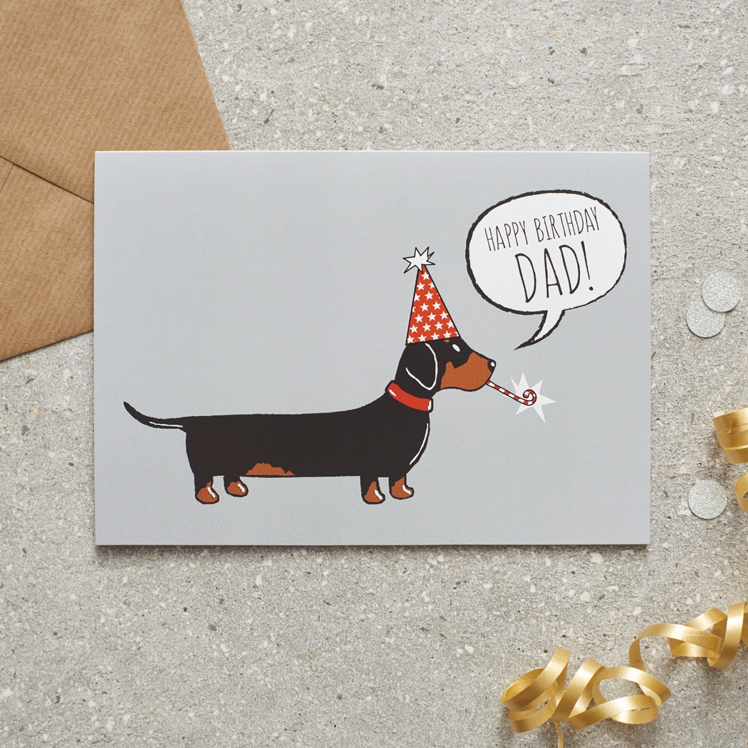 Dachshund Dad Birthday Card Mischievous Mutts Greeting Cards