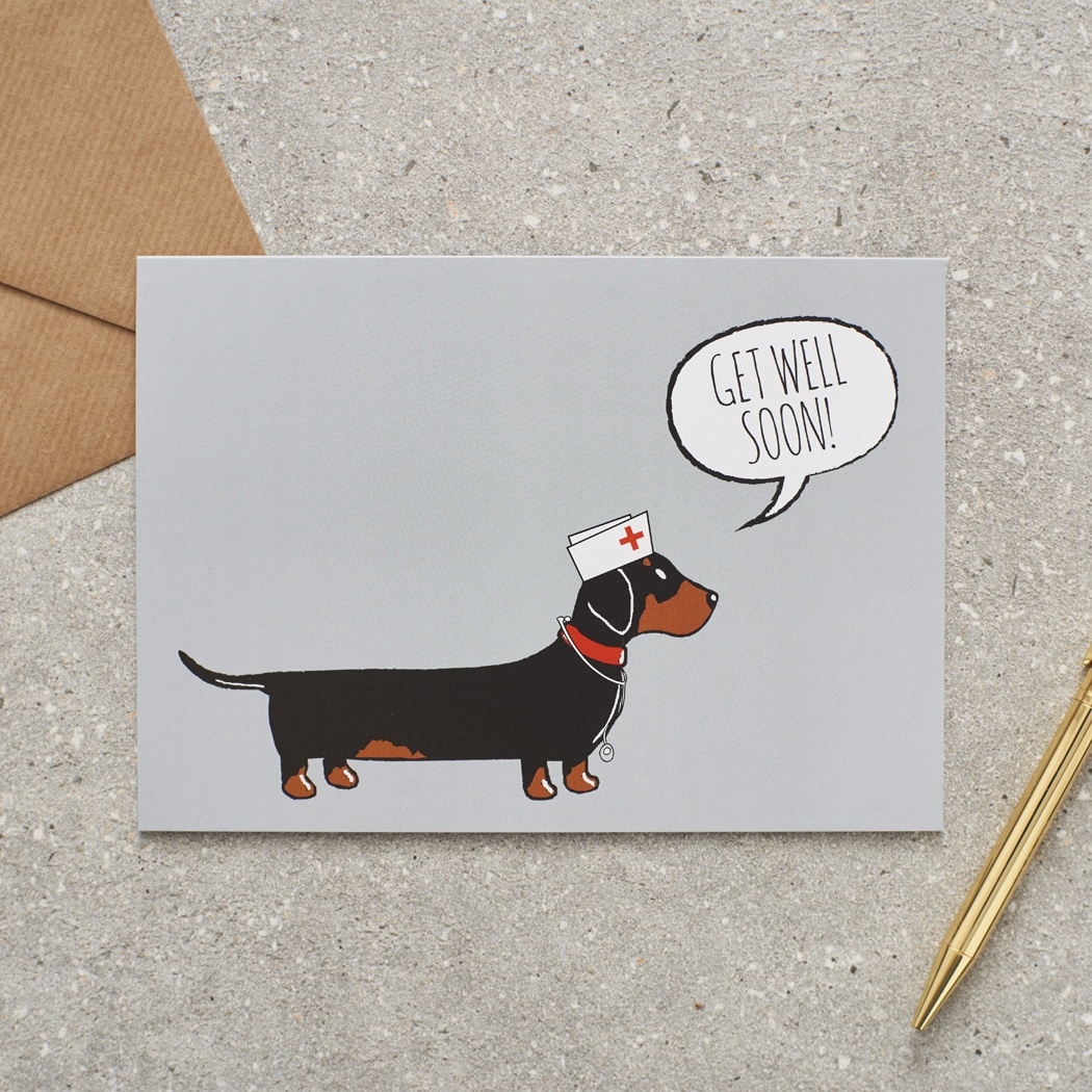 Dachshund Sausage Dog Get Well Soon Card 275 Mischievous Mutts