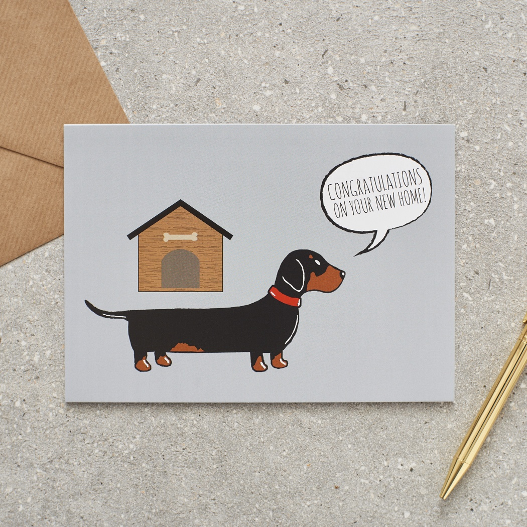 Dachshund sausage dog new home card 275 mischievous mutts dachshund sausage dog congratulatons on your new home greetings card kristyandbryce Image collections