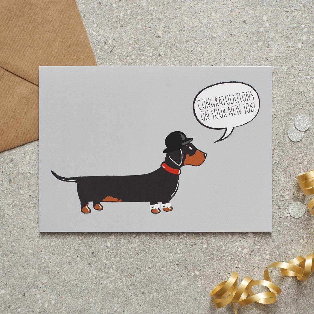 Dachshund Sausage Dog New Job Card 275 Mischievous Mutts
