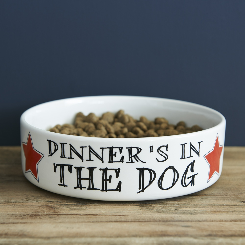 Dinner's in the Dog - dog bowl , Mutts & Moggies > Dog bowls ,