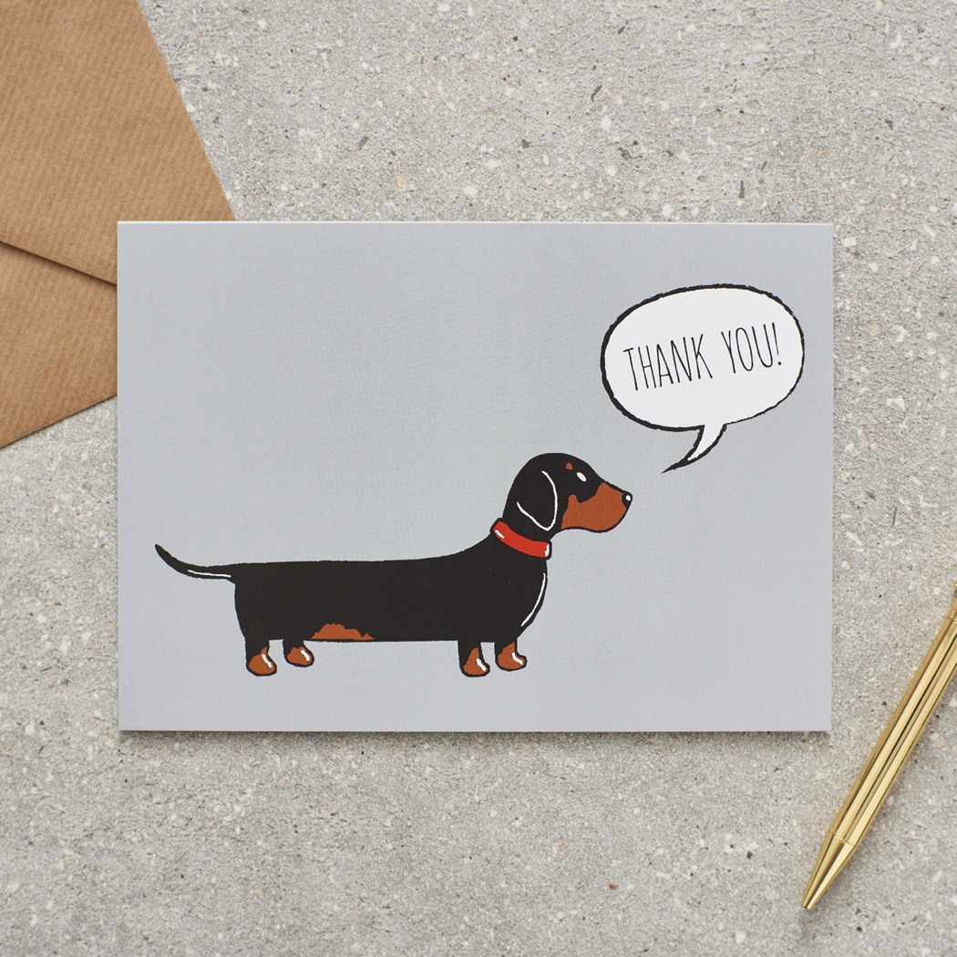 Dachshund / Sausage dog Thank You Greetings Card