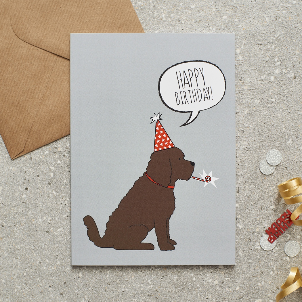 Cockapoo / Labradoodle (chocolate) Birthday Card , Mischievous Mutts > Greeting Cards , Cockapoo
