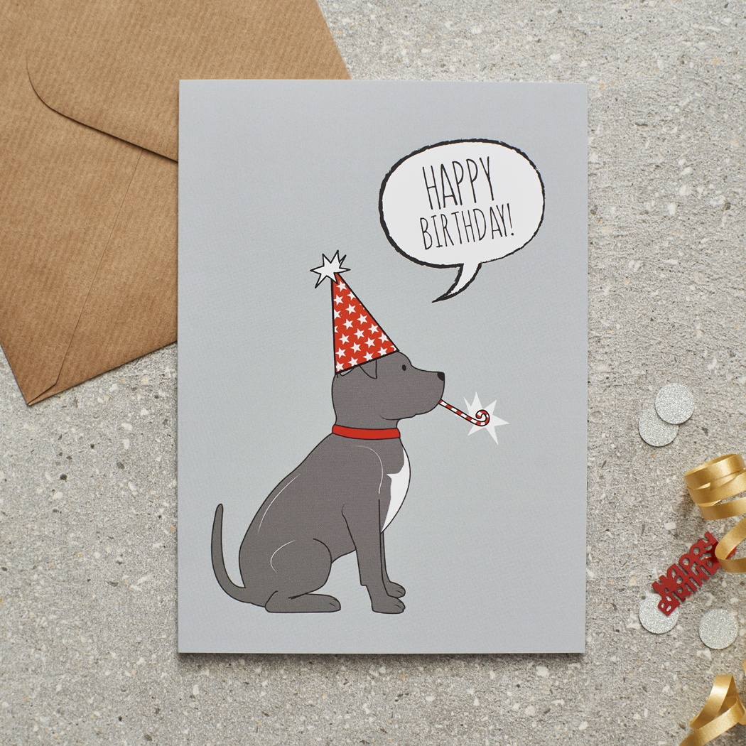 Staffie Birthday Card , Mischievous Mutts > Greeting Cards , Staffie