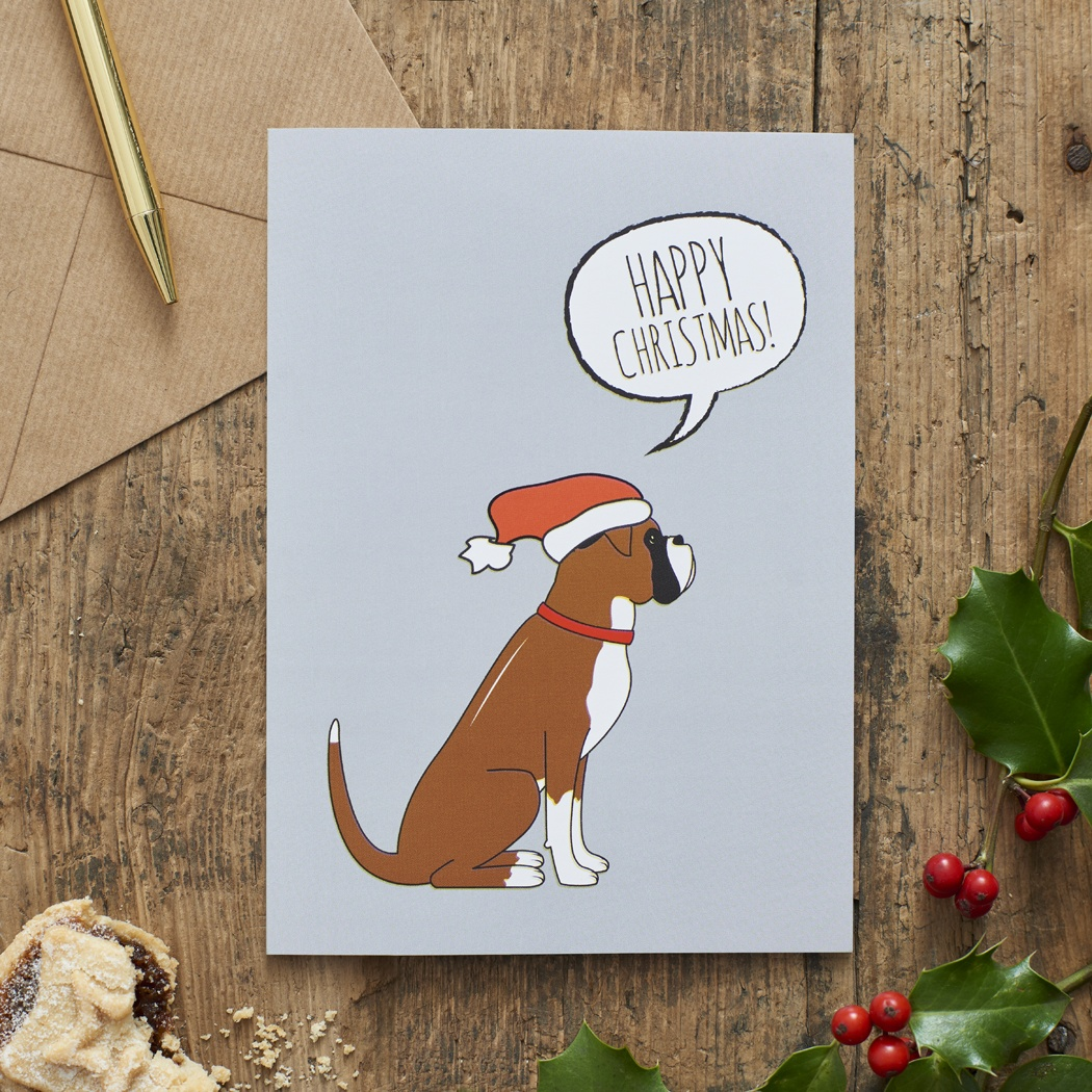 Boxer Christmas Card , Mischievous Mutts > Greeting Cards , Boxer