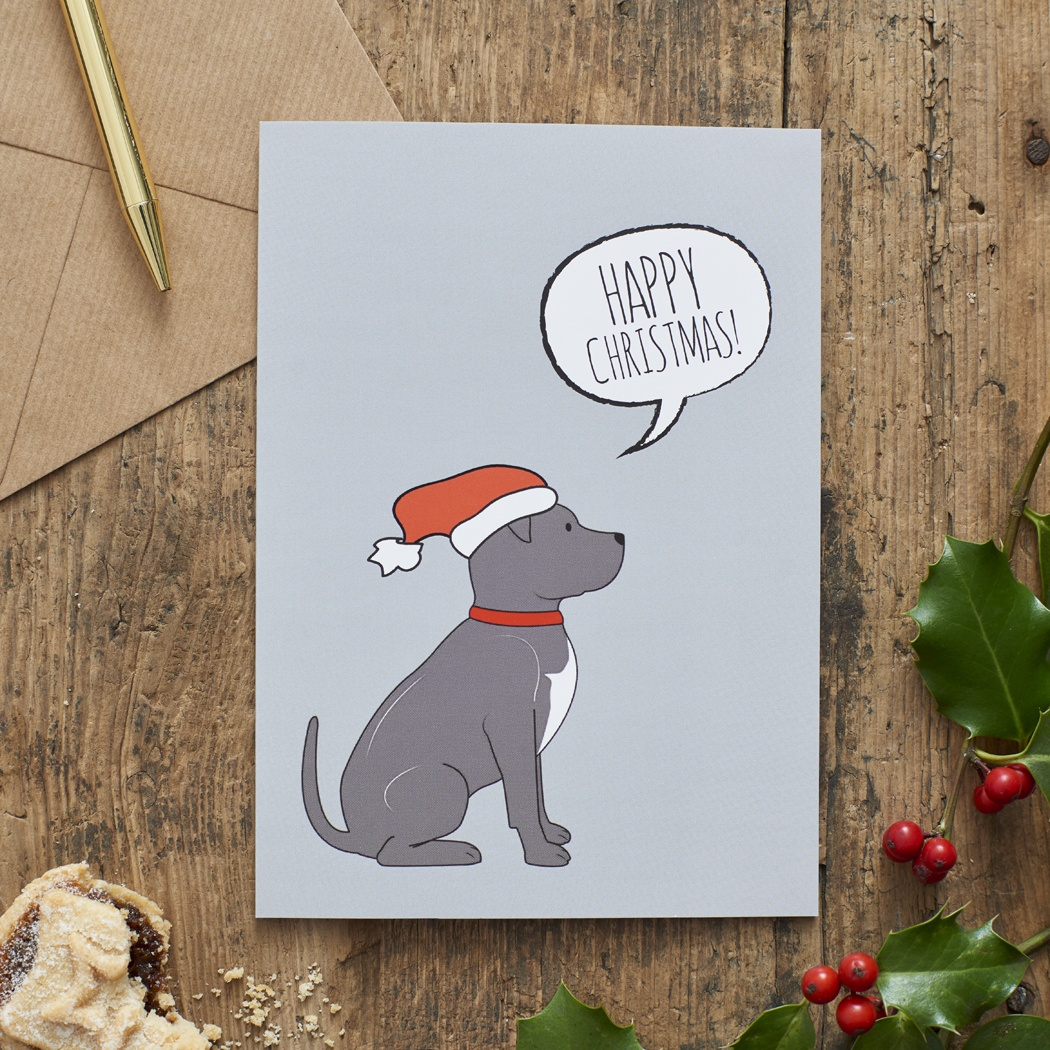 Staffie Christmas Card , Mischievous Mutts > Greeting Cards , Staffie