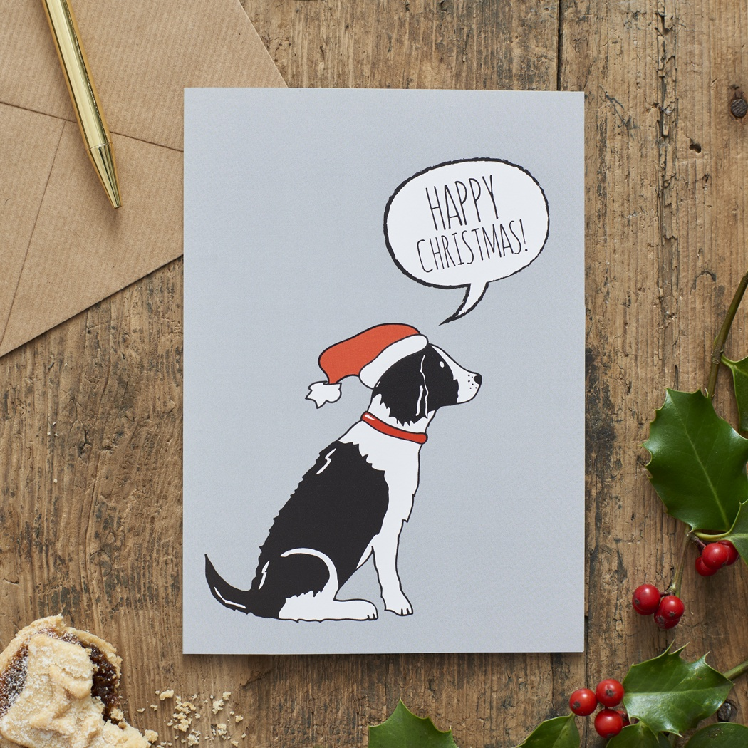 Springer Spaniel (black & white) Christmas Card , Mischievous Mutts > Greeting Cards , Springer Spaniel