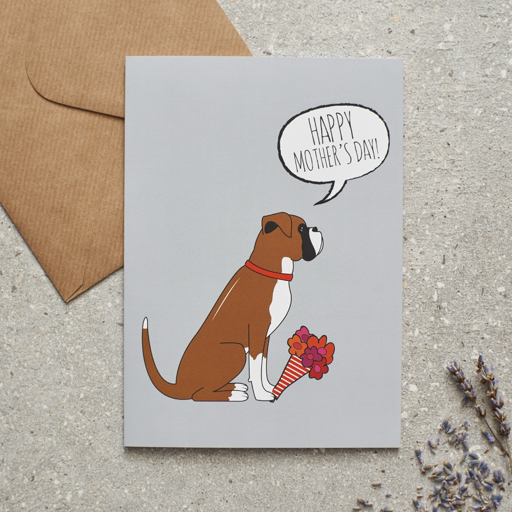 Boxer Mother's Day Card , Mischievous Mutts > Greeting Cards , Boxer
