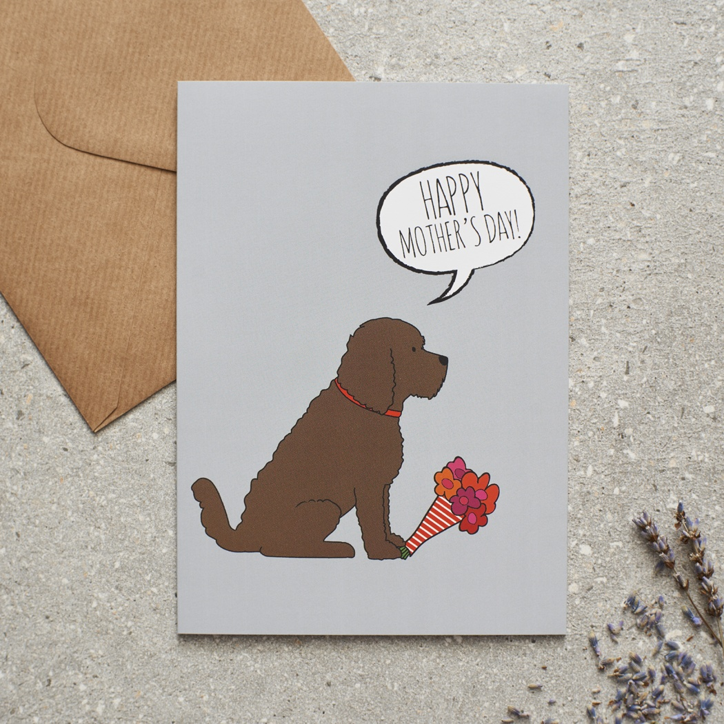 Chocolate Cockapoo / Labradoodle Mother's Day Card , Mischievous Mutts > Greeting Cards , Cockapoo