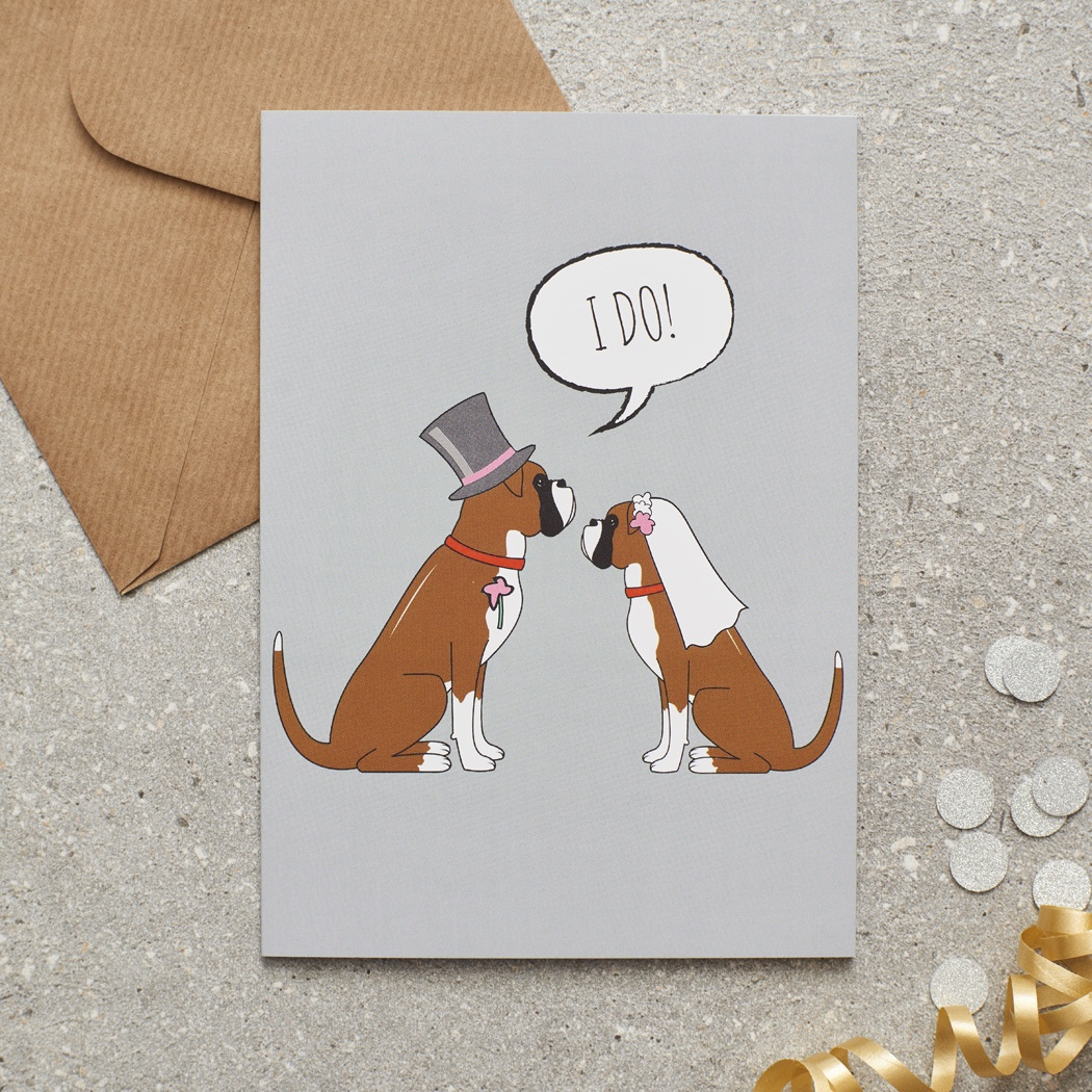 Boxer Wedding Card , Mischievous Mutts > Greeting Cards , Boxer