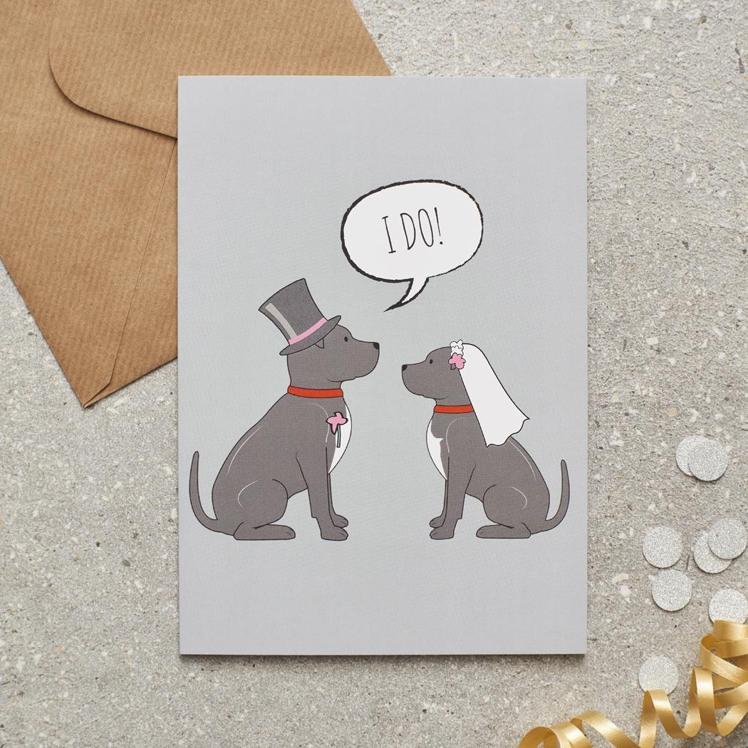 Staffie Wedding Card , Mischievous Mutts > Greeting Cards , Staffie