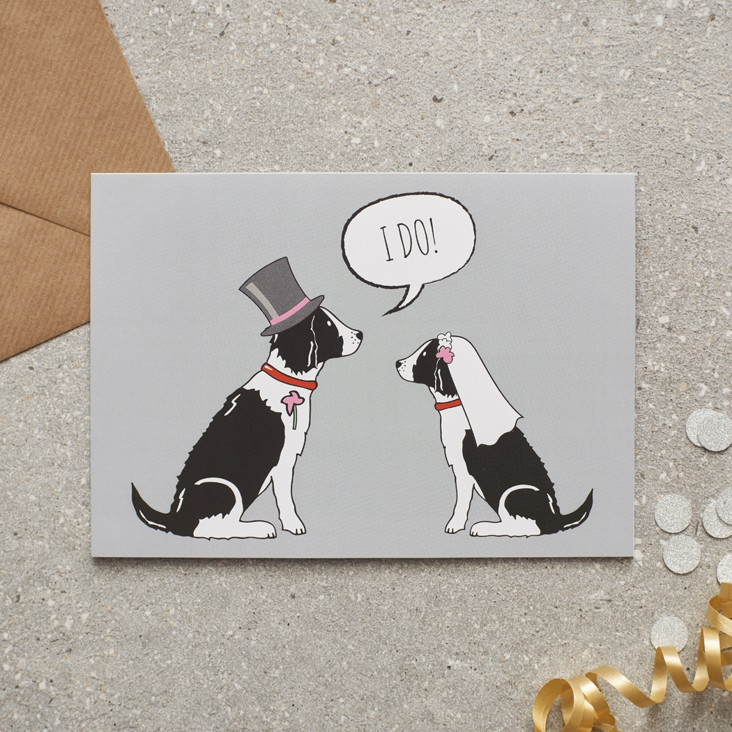 Springer Spaniel (black & white) Wedding Card , Mischievous Mutts > Greeting Cards , Springer Spaniel