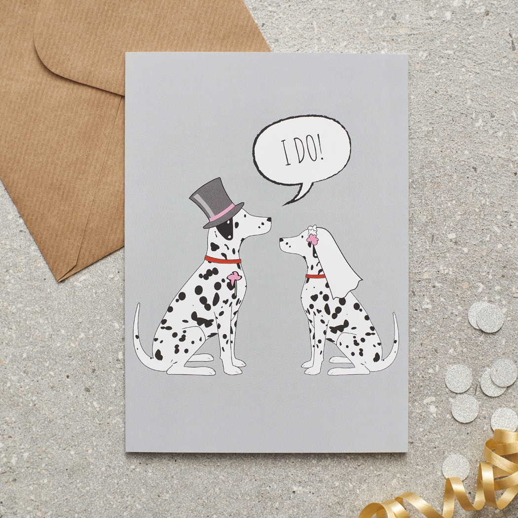 Dalmatian Wedding Card , Mischievous Mutts > Greeting Cards , Dalmatian