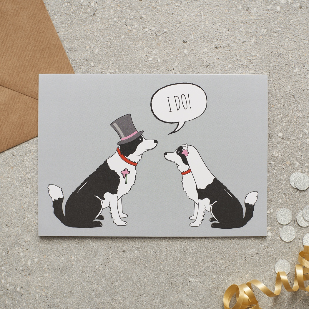 Border Collie Wedding Card , Mischievous Mutts > Greeting Cards , Border Collie