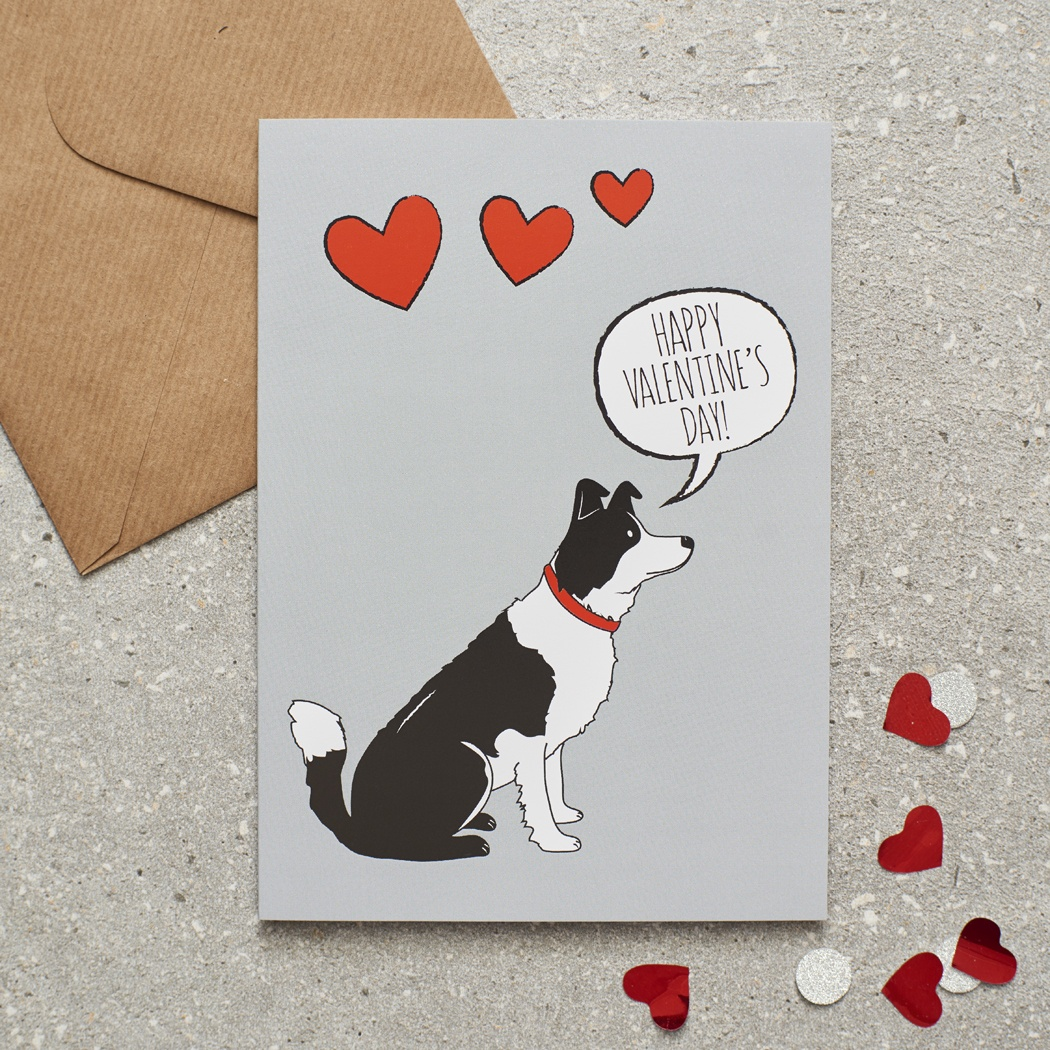 Border Collie Valentine's Day Card , Mischievous Mutts > Greeting Cards , Border Collie