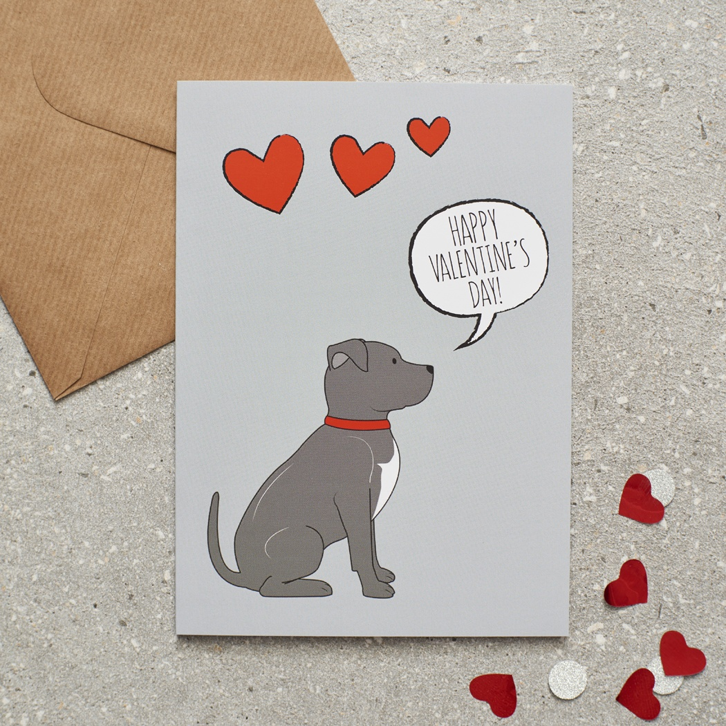 Staffie Valentine's Day Card , Mischievous Mutts > Greeting Cards , Staffie