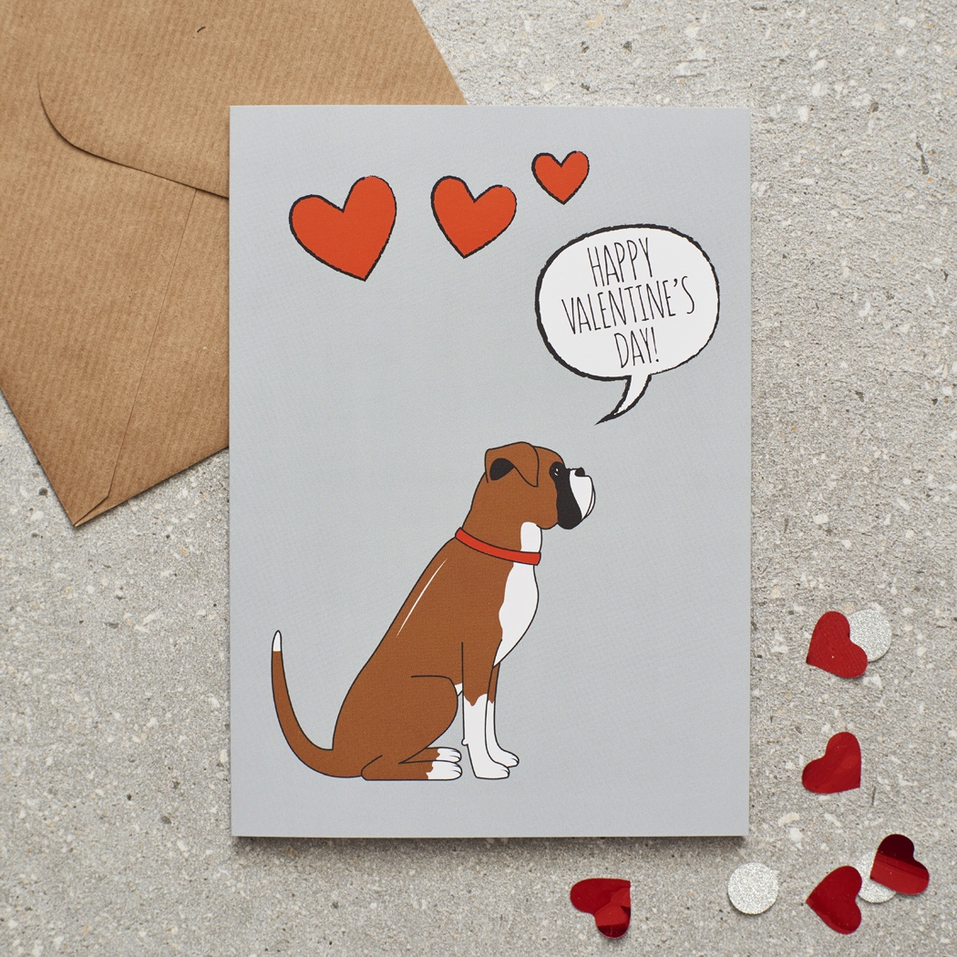 Boxer Valentine's Day Card , Mischievous Mutts > Greeting Cards , Boxer