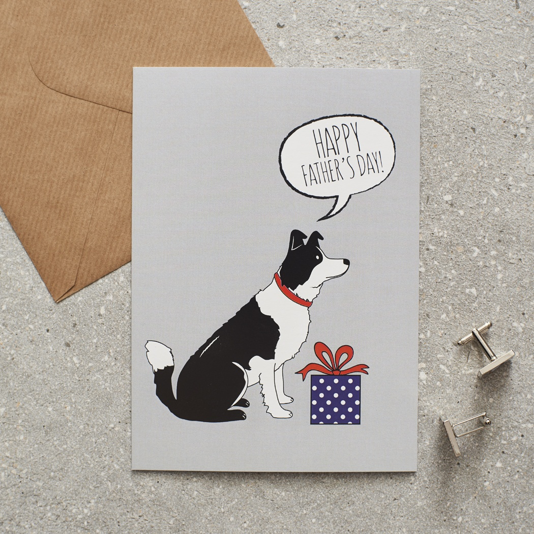 Border Collie Father's Day Card , Mischievous Mutts > Greeting Cards , Border Collie