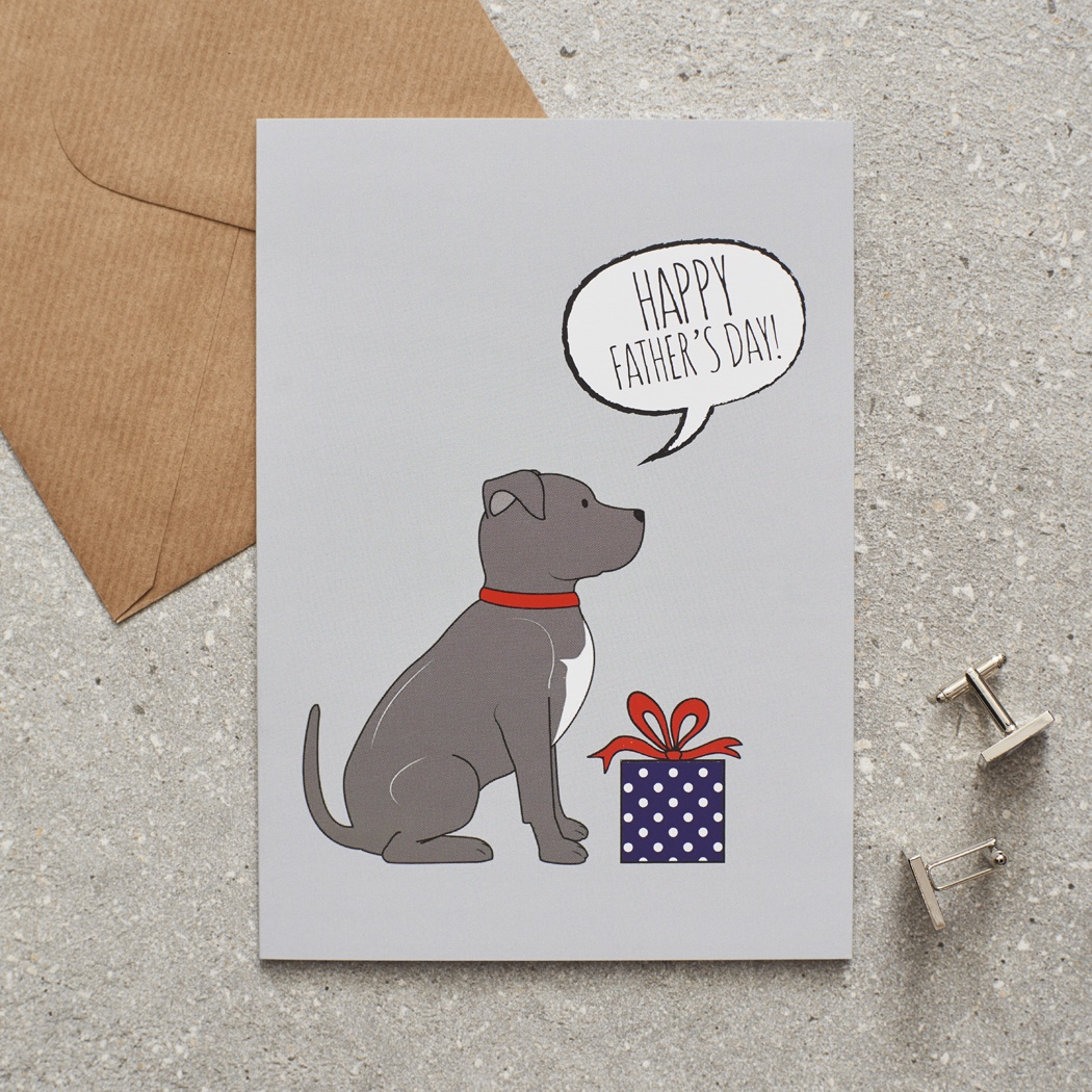 Staffie Father's Day Card , Mischievous Mutts > Greeting Cards , Staffie