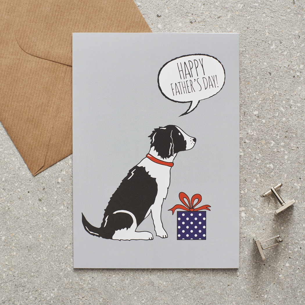 Springer Spaniel (black & white) Father's Day Card , Mischievous Mutts > Greeting Cards , Springer Spaniel