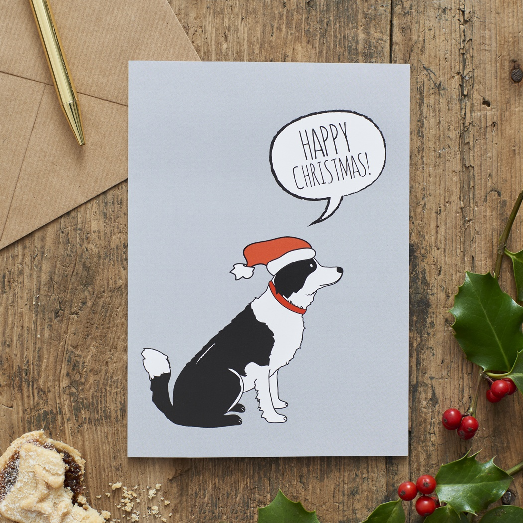 Border Collie Christmas Card , Mischievous Mutts > Greeting Cards , Border Collie