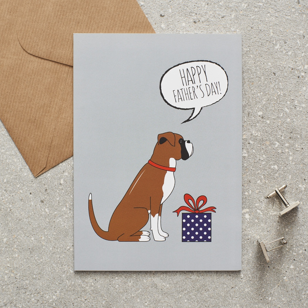 Boxer Father's Day Card , Mischievous Mutts > Greeting Cards , Boxer