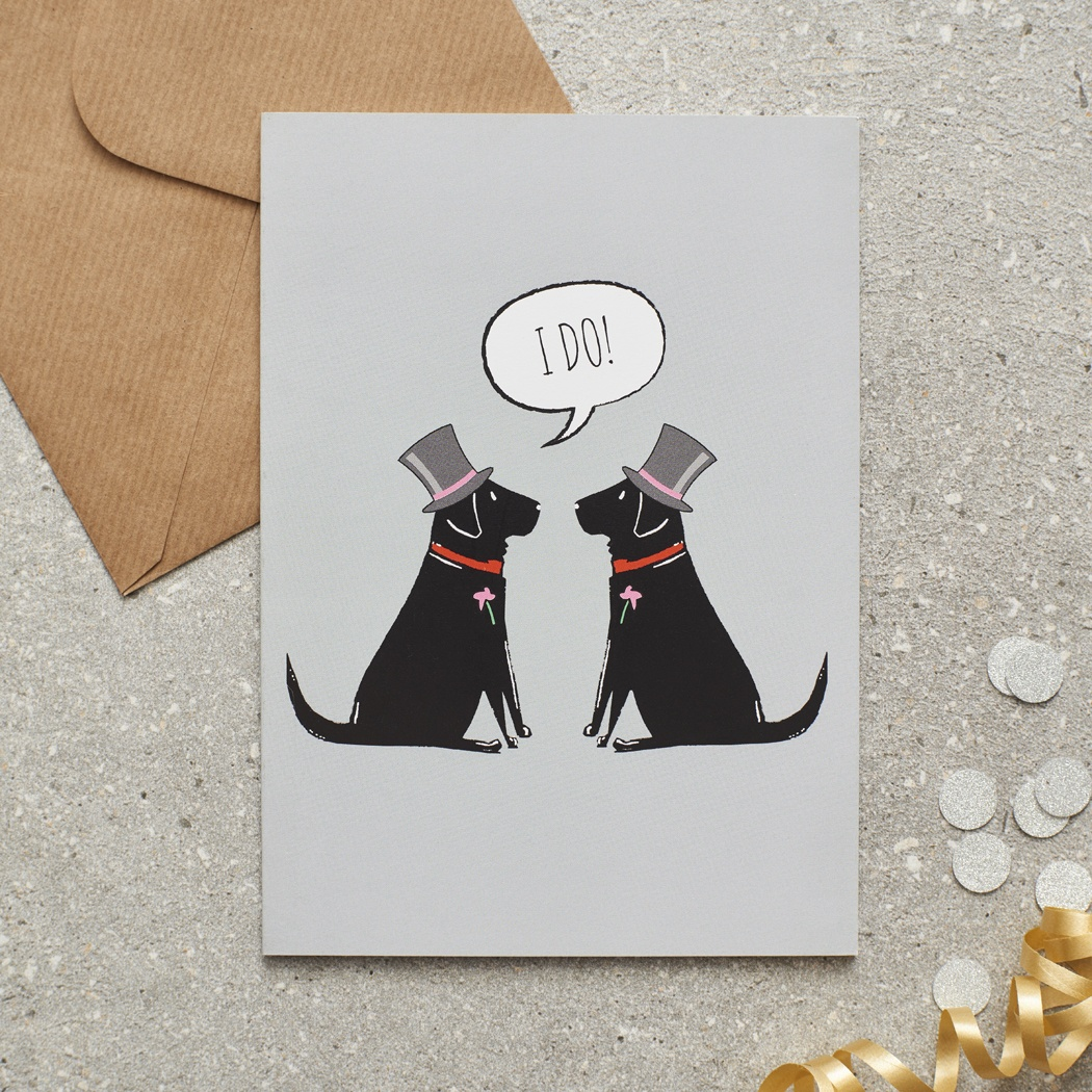 Black Labrador Gay Wedding / Civil Partnership Card , Mischievous Mutts > Greeting Cards , Black Labrador