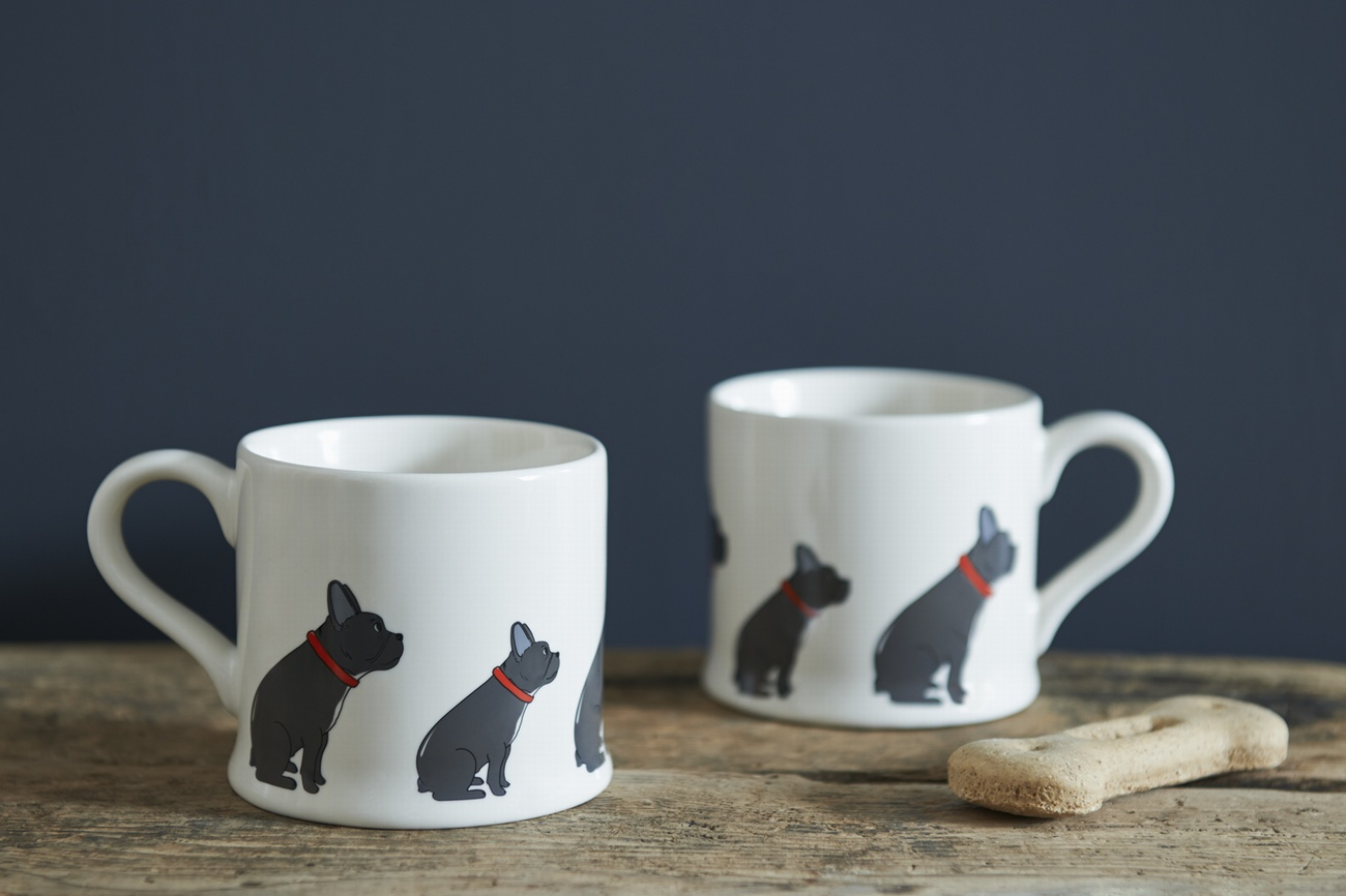 Pair of French Bulldog mugs