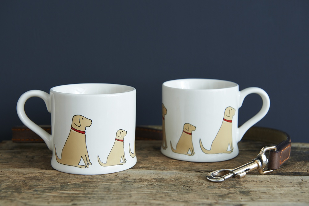 A pair of yellow Labrador Lab mugs