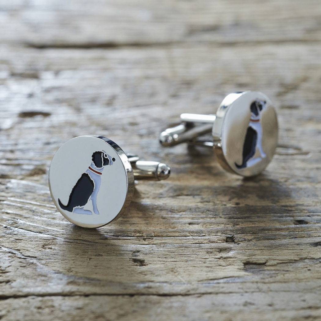 Springer Spaniel (Black & White) Cufflinks , Mischievous Mutts > Cufflinks , Springer Spaniel