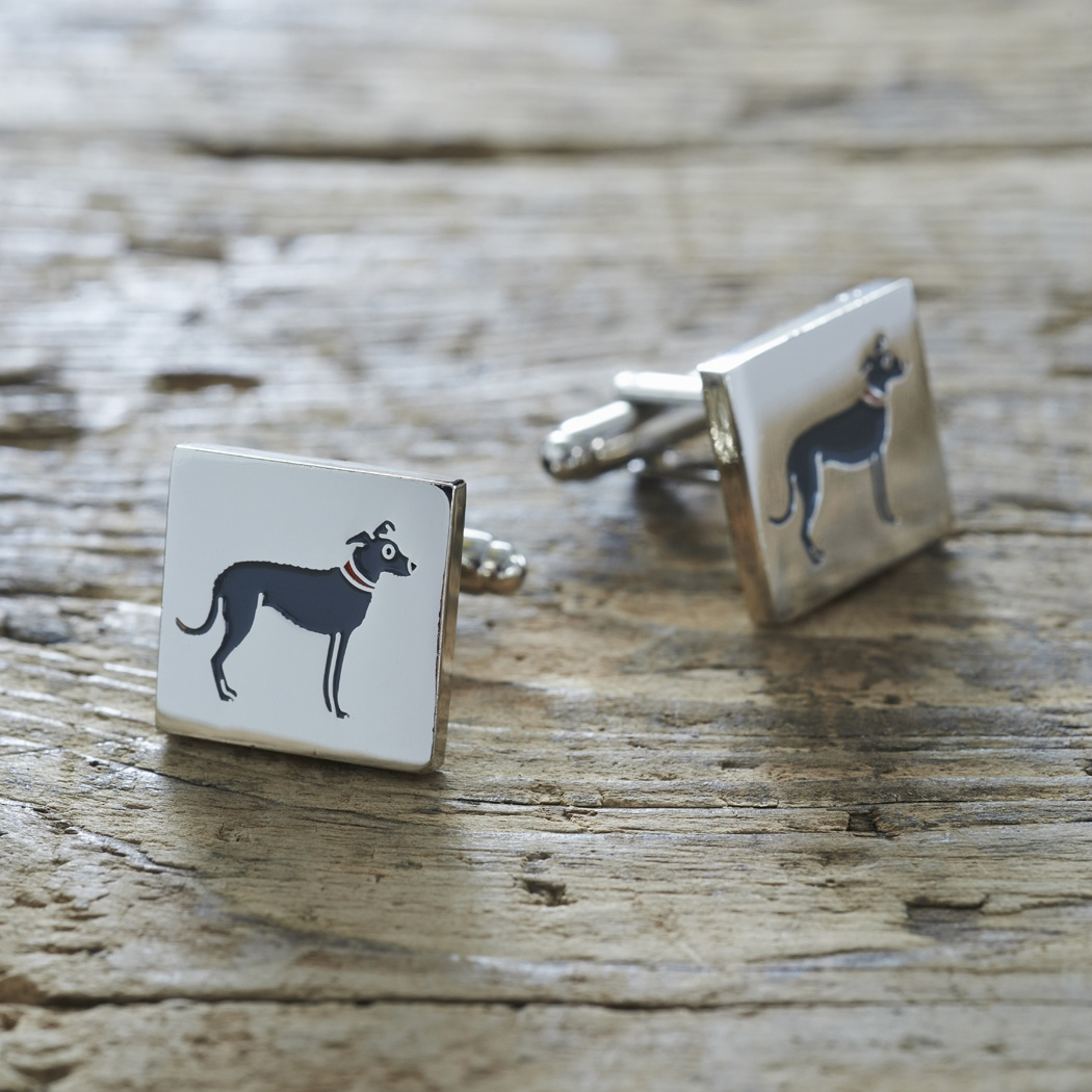 Lurcher Cufflinks , Mischievous Mutts > Cufflinks , Lurcher
