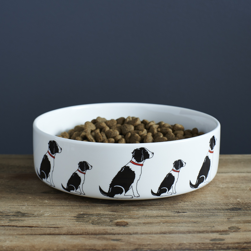 Springer Spaniel (Black & White) Dog Bowl , Mischievous Mutts > Dog bowls , Springer Spaniel