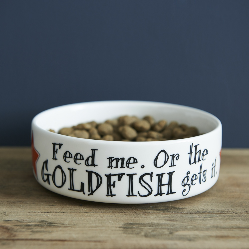 Feed me or the Goldfish gets it Cat bowl , Mutts & Moggies > Cat bowls ,