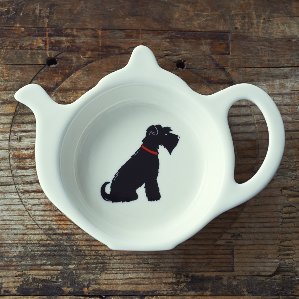 Black Schnauzer Teabag Dish , Mischievous Mutts > Teabag Dishes , Schnauzer