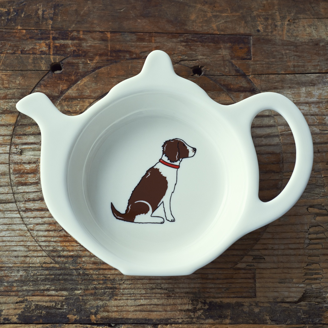 Springer Spaniel (Liver & White) Teabag Dish , Mischievous Mutts > Teabag Dishes , Springer Spaniel