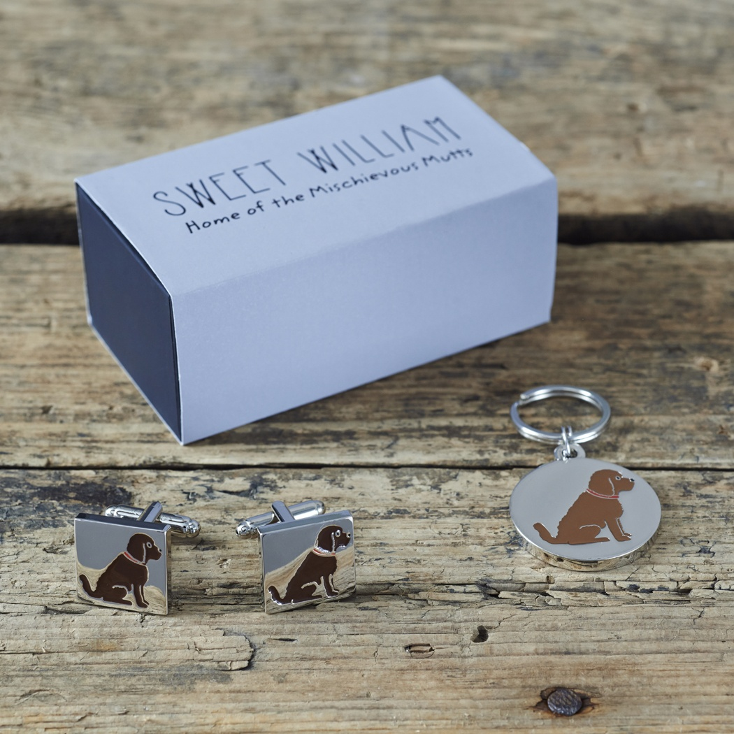 Cockapoo / Labradoodle (chocolate) Cufflinks and Dog Tag Set , Mischievous Mutts > Daddy and Me , Cockapoo