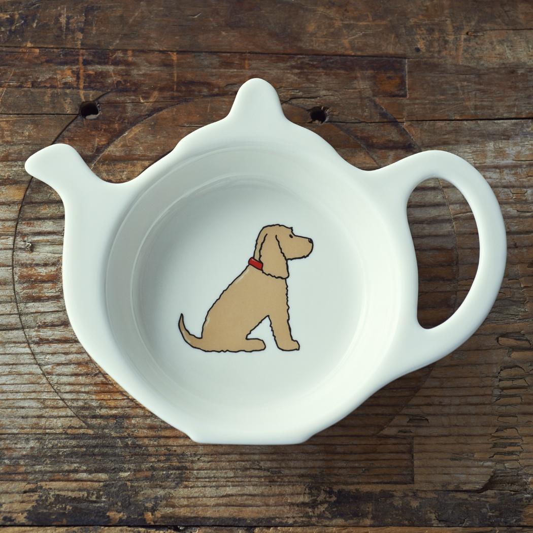 Cocker Spaniel (golden) Teabag Dish , Mischievous Mutts > Teabag Dishes , Cocker Spaniel
