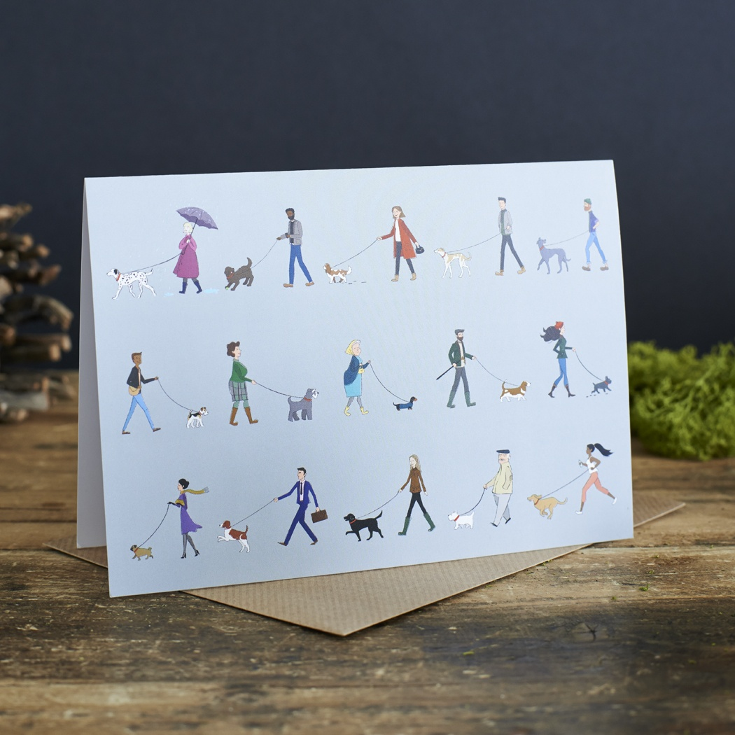Dog Walkers greeting cards , Mutts & Moggies > dog walkers range ,