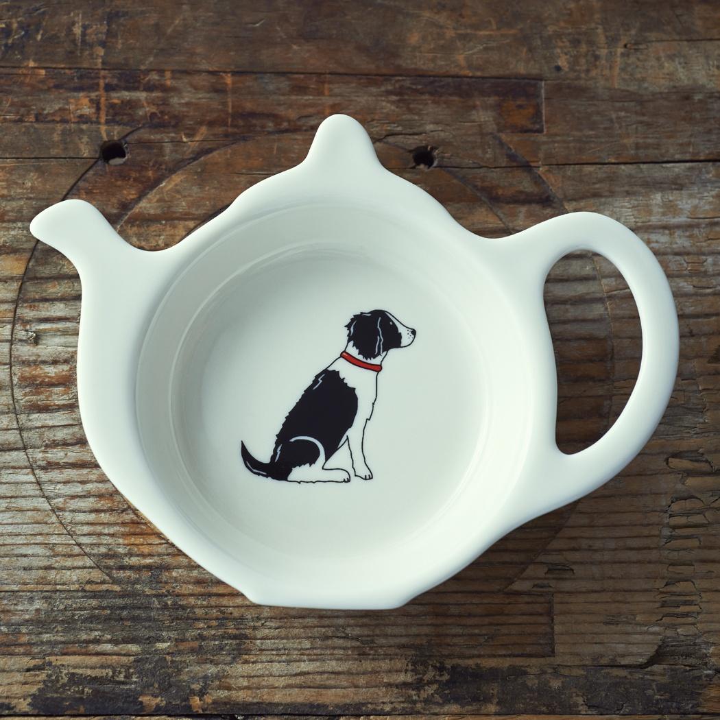 SPRINGER SPANIEL (BLACK & WHITE) TEABAG DISH , Mischievous Mutts > Teabag Dishes , Springer Spaniel