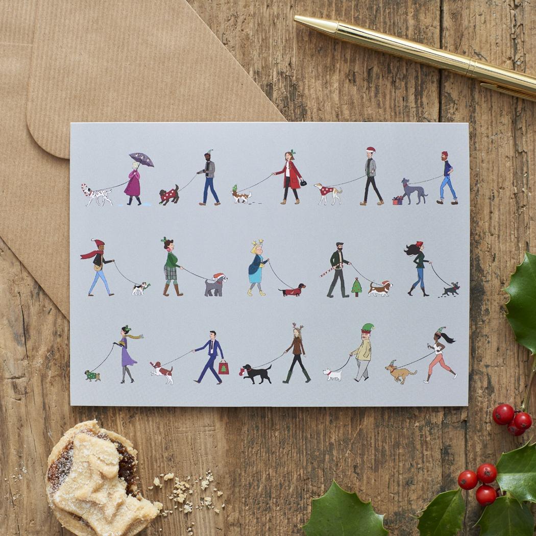 Dog Walkers Christmas card , Mutts & Moggies > Dog Walkers Range ,