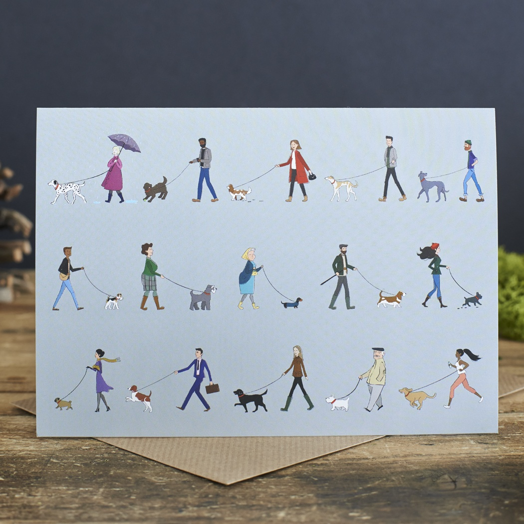 Dog Walkers Greeting Card , Mischievous Mutts > Greeting Cards ,