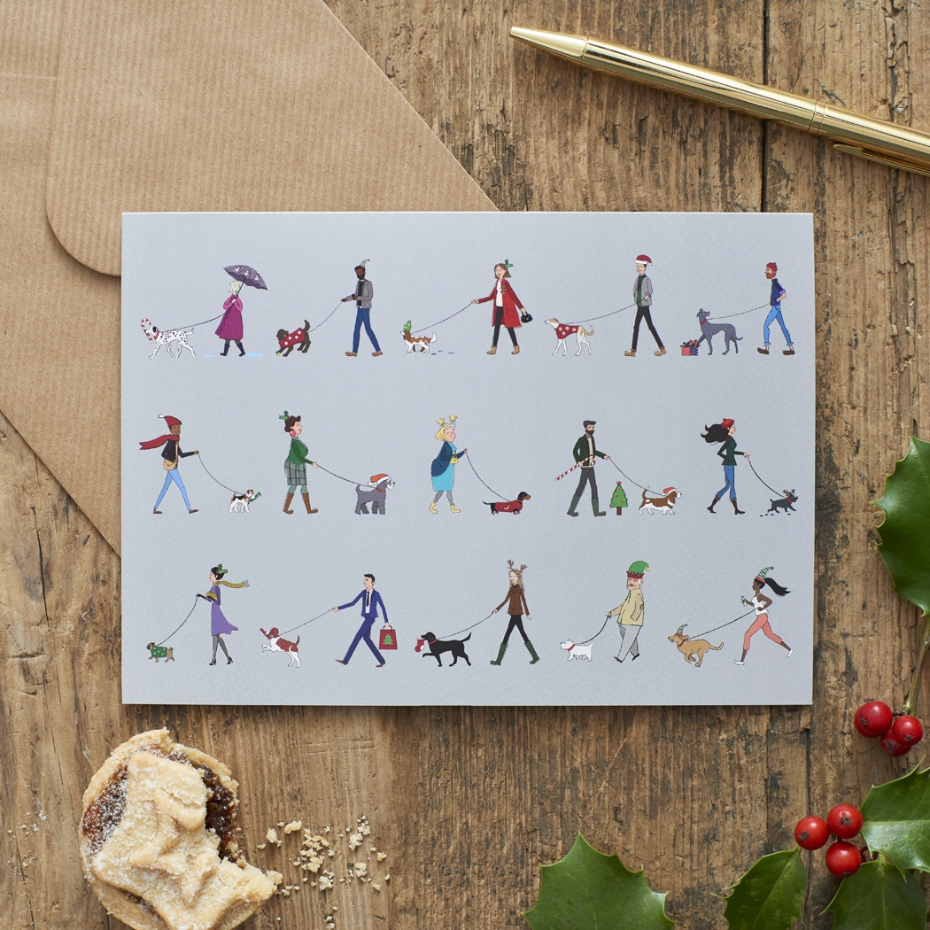 DOG WALKERS CHRISTMAS CARD , Mischievous Mutts > Greeting Cards ,