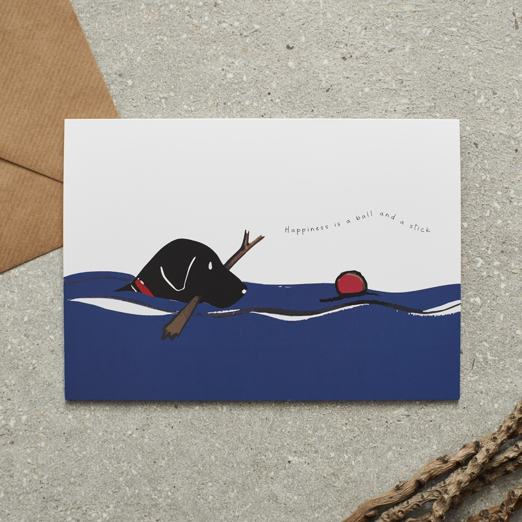 Swimming Black Labrador Card , Mischievous Mutts > Greeting Cards ,