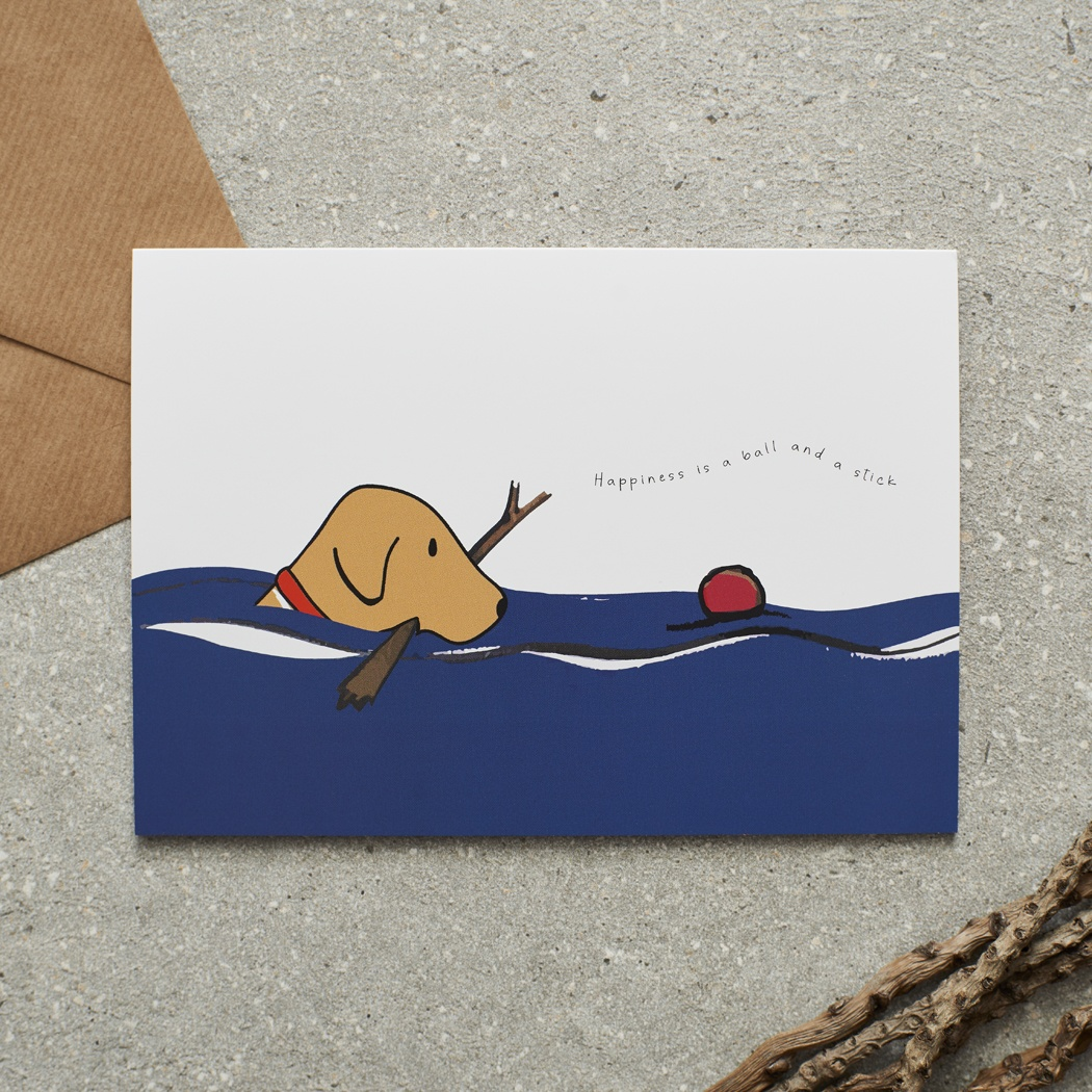 Swimming Fox Red Labrador Card , Mischievous Mutts > Greeting Cards ,