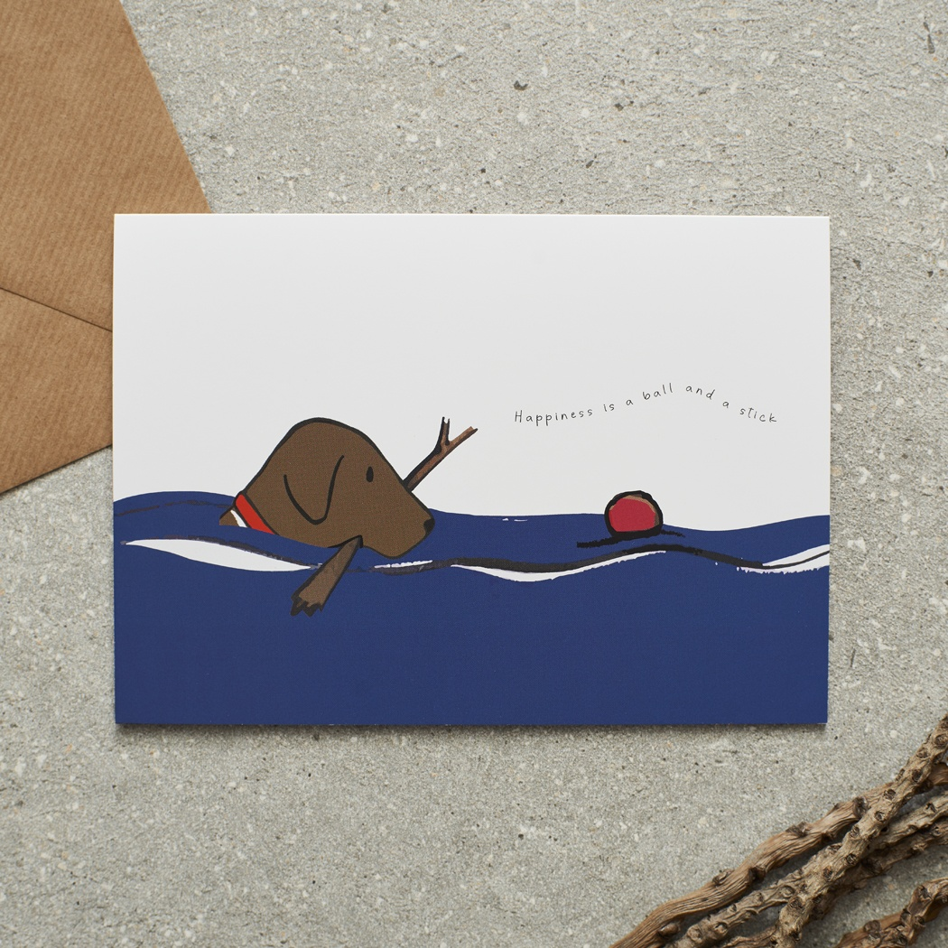 Swimming Chocolate Labrador Card , Mischievous Mutts > Greeting Cards ,