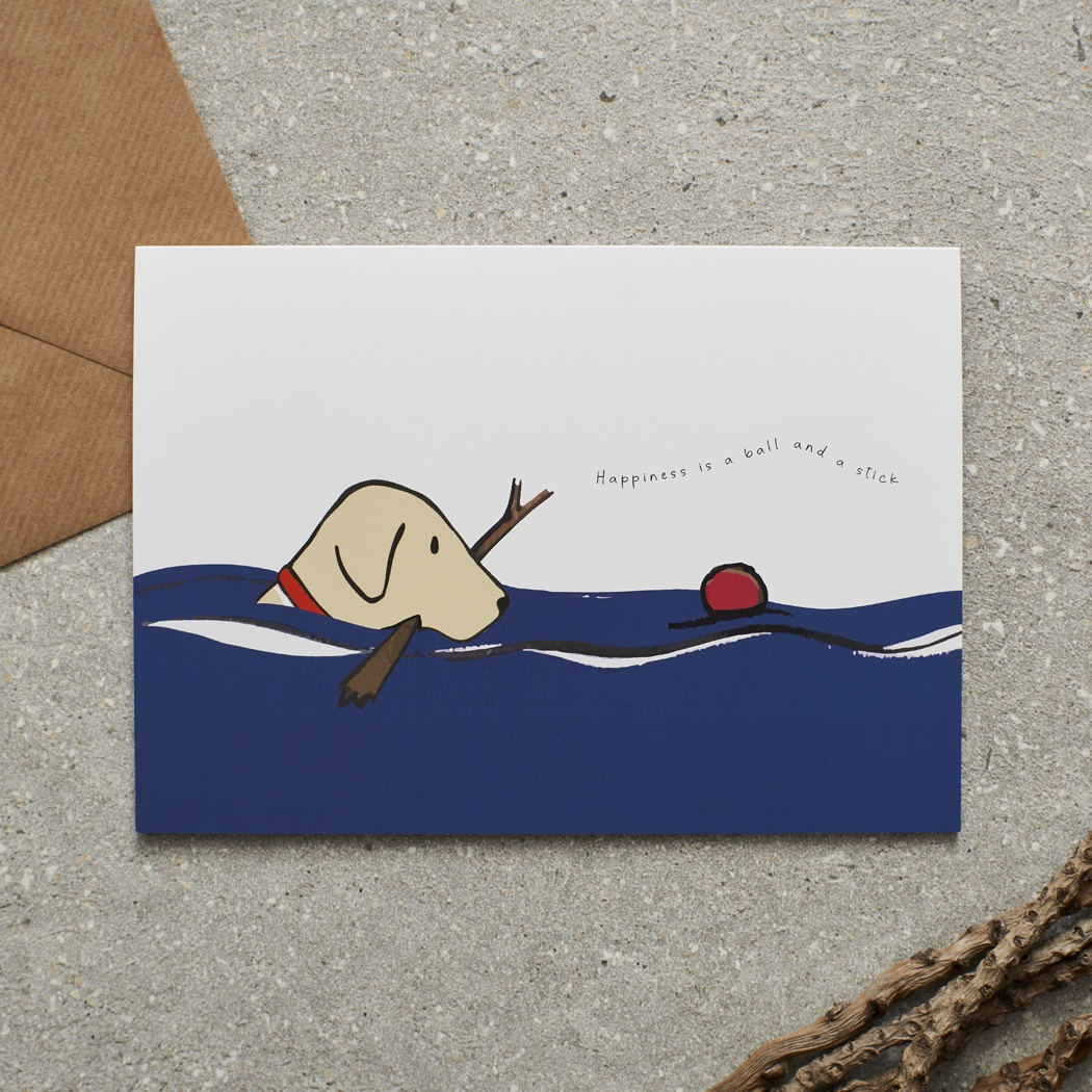 Swimming Yellow Labrador Card , Mischievous Mutts > Greeting Cards ,