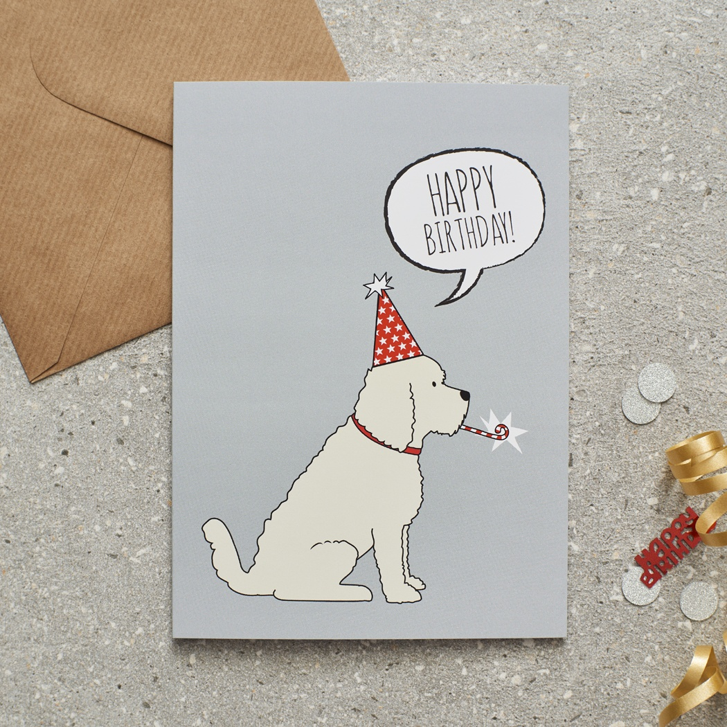 COCKAPOO / LABRADOODLE (apricot) BIRTHDAY CARD , Mischievous Mutts > Greeting Cards , Cockapoo